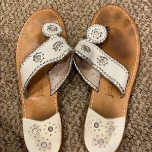 Jack Rogers White and Silver Sandals